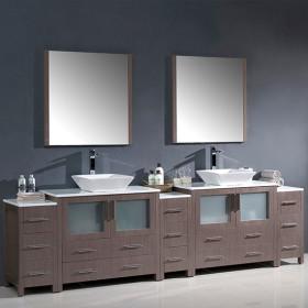 Fresca Torino (double) 108-Inch Gray Oak Modern Bathroom Vanity with Vessel Sinks
