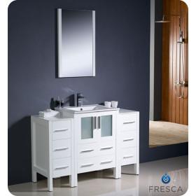 Fresca Torino (single) 48-Inch White Modern Bathroom Vanity with Integrated Sink