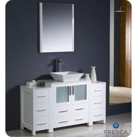 Fresca Torino (single) 54-Inch White Modern Bathroom Vanity with Vessel Sink