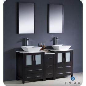 Fresca Torino (double) 60-Inch Espresso Modern Bathroom Vanity with Vessel Sinks