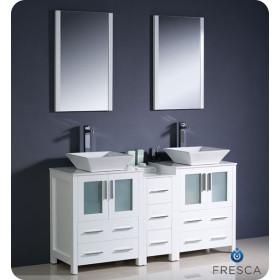 Fresca Torino (double) 60-Inch White Modern Bathroom Vanity with Vessel Sinks