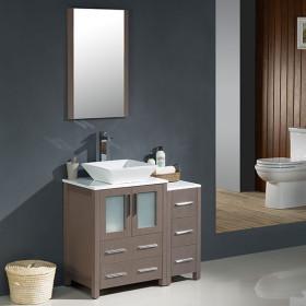 Fresca Torino (single) 36-Inch Gray Oak Modern Bathroom Vanity with Vessel Sink