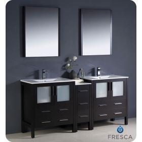 Fresca Torino (double) 72-Inch Espresso Modern Bathroom Vanity with Integrated Sinks