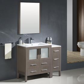 Fresca Torino (single) 42-Inch Gray Oak Modern Bathroom Vanity with Integrated Sink