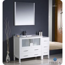 Fresca Torino (single) 47.75-Inch White Modern Bathroom Vanity with Integrated Sink