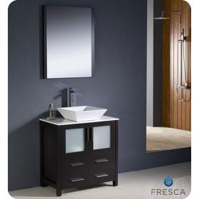 Fresca Torino (single) 30-Inch Espresso Modern Bathroom Vanity with Vessel Sink