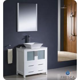 Fresca Torino (single) 30-Inch White Modern Bathroom Vanity with Vessel Sink