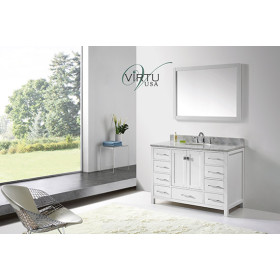 Virtu USA Caroline Avenue (single) 48.8-Inch White Contemporary Bathroom Vanity With Mirror