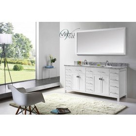 Virtu USA Caroline Parkway (double) 72-Inch White Contemporary Bathroom Vanity with Mirror