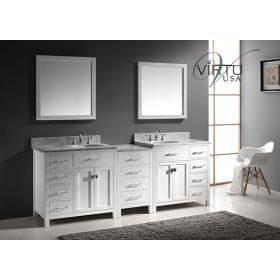Virtu USA Caroline Parkway (double) 92.8-Inch White Contemporary Bathroom Vanity with Mirror