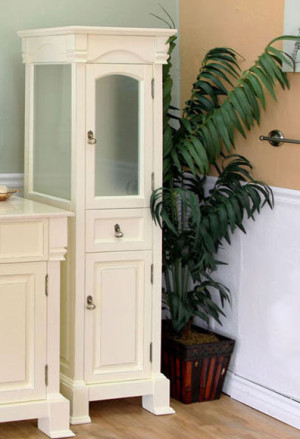 Harlow 18-Inch Cream White Traditional Tall Linen Bathroom Side Cabinet