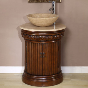Maya (single) 24-Inch Round Vessel Sink Bathroom Vanity
