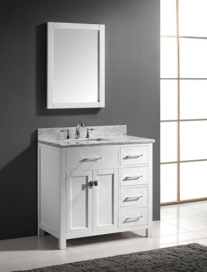 Virtu USA Caroline Parkway (single) 36.9-Inch Right Side White Transitional Bathroom Vanity with Mirror