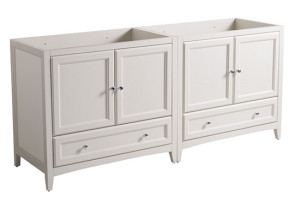 Fresca Oxford (double) 70.75-Inch Antique White Transitional Modular Bathroom Vanity (Model 2) - Cabinet Only