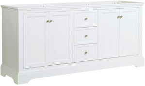 Fresca Windsor (double) 71.6-Inch Transitional Matte White Bathroom Vanity - Cabinet Only