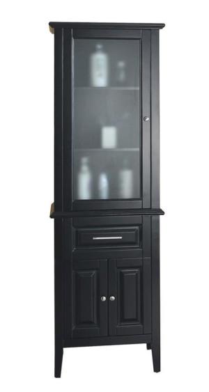 Virtu USA Walton 23.6-Inch Espresso Bathroom Side Linen Cabinet