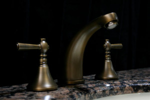 Sassy Brassy Antique Brass Three Hole Faucet Set