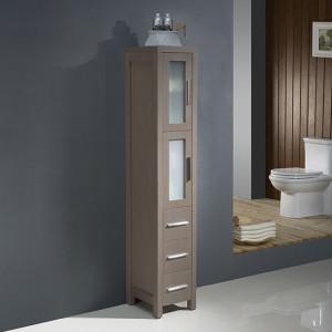 Fresca Torino 12-Inch Gray Oak Bathroom Tall Linen Side Cabinet
