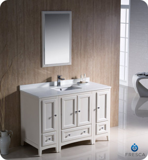 Fresca Oxford (single) 48-Inch Antique White Transitional Modular Bathroom Vanity Set