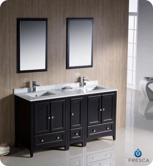 Fresca Oxford (double) 60-Inch Espresso Transitional Bathroom Vanity Set