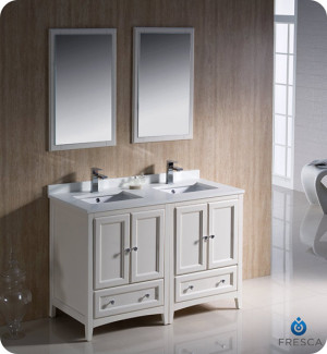 Fresca Oxford (double) 48-Inch Antique White Transitional Modular Bathroom Vanity Set