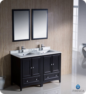Fresca Oxford (double) 48-Inch Espresso Transitional Modular Bathroom Vanity Set