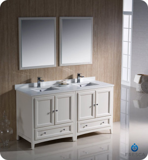 Fresca Oxford (double) 60-Inch Antique White Transitional Bathroom Vanity Set (Model 2)