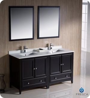 Fresca Oxford (double) 60-Inch Espresso Transitional Bathroom Vanity Set (Model 2)
