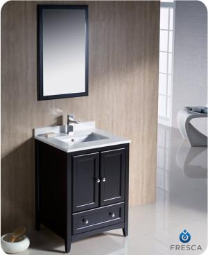 Fresca Oxford (single) 24-Inch Transitional Espresso Bathroom Vanity Set