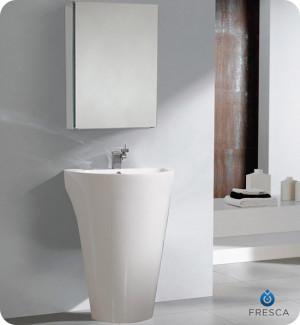 Fresca Parma (single) 24-Inch White Modern Pedestal Bathroom Vanity Set