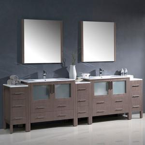 Fresca Torino (double) 108-Inch Gray Oak Modern Bathroom Vanity with Integrated Sinks