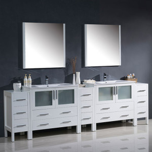 Fresca Torino (double) 108-Inch White Modern Bathroom Vanity with Integrated Sinks