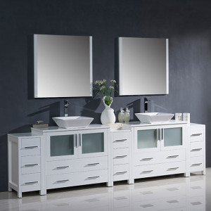 Fresca Torino (double) 108-Inch White Modern Bathroom Vanity with Vessel Sinks