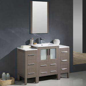 Fresca Torino (single) 48-Inch Gray Oak Modern Bathroom Vanity with Integrated Sink