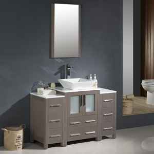 Fresca Torino (single) 48-Inch Gray Oak Modern Bathroom Vanity with Vessel Sink