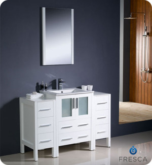 Fresca Torino (single) 48-Inch White Modern Bathroom Vanity with Integrated Sink
