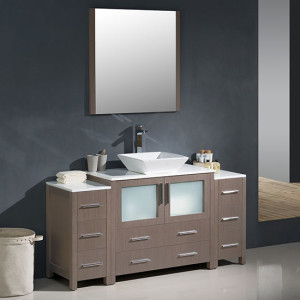 Fresca Torino (single) 59.75-Inch Gray Oak Modern Bathroom Vanity with Vessel Sink