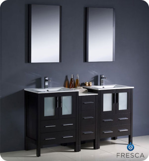 Fresca Torino (double) 60-Inch Espresso Modern Bathroom Vanity with Integrated Sinks