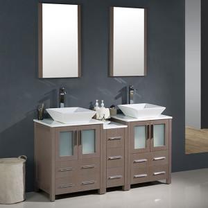 Fresca Torino (double) 60-Inch Gray Oak Modern Bathroom Vanity with Vessel Sinks
