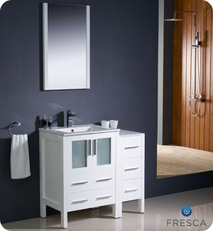 Fresca Torino (single) 36-Inch White Modern Bathroom Vanity with Integrated Sink