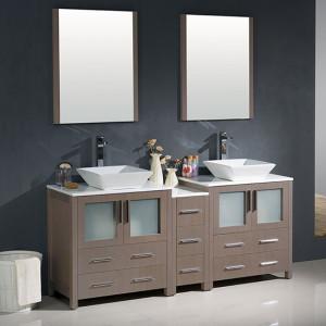Fresca Torino (double) 72-Inch Gray Oak Modern Bathroom Vanity with Vessel Sinks