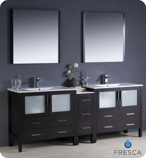Fresca Torino (double) 83.5-Inch Espresso Modern Bathroom Vanity with Integrated Sinks
