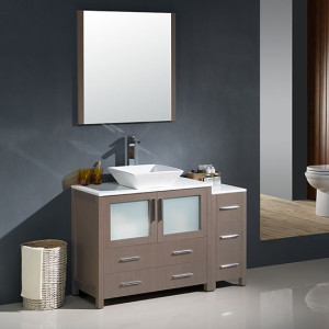 Fresca Torino (single) 47.75-Inch Gray Oak Modern Bathroom Vanity with Vessel Sink