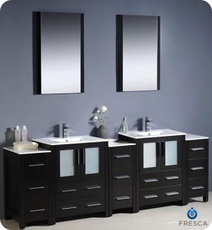 Fresca Torino (double) 84-Inch Espresso Modern Bathroom Vanity with Integrated Sinks