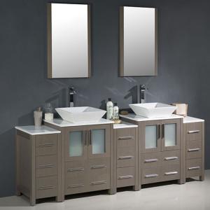 Fresca Torino (double) 84-Inch Gray Oak Modern Bathroom Vanity with Vessel Sinks