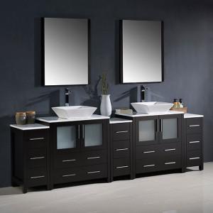 Fresca Torino (double) 96-Inch Espresso Modern Bathroom Vanity with Vessel Sinks