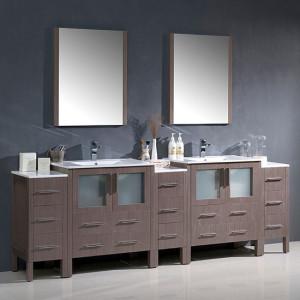 Fresca Torino (double) 96-Inch Gray Oak Modern Bathroom Vanity with Integrated Sinks
