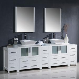 Fresca Torino (double) 96-Inch White Modern Bathroom Vanity with Vessel Sinks