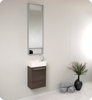 Fresca Pulito (single) 15.5-Inch Gray Oak Modern Wall-Mount Bathroom Vanity Set