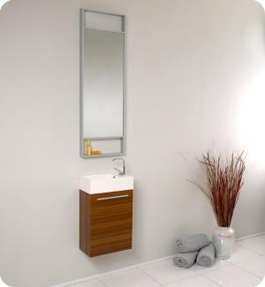 Fresca Pulito (single) 15.5-Inch Teak Modern Wall-Mount Bathroom Vanity Set
